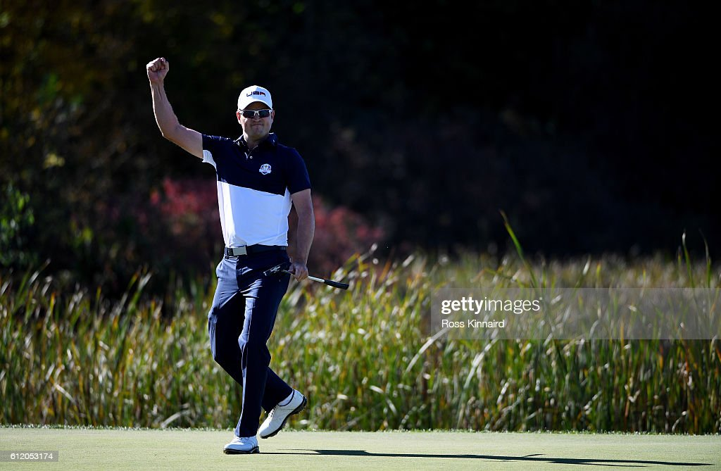 Zach Johnson of the United States reacts to a putt on the tenth green during singles matches of the 2016 Ryder Cup at Hazeltine National Golf Club on October 2, 2016 in Chaska, Minnesota.