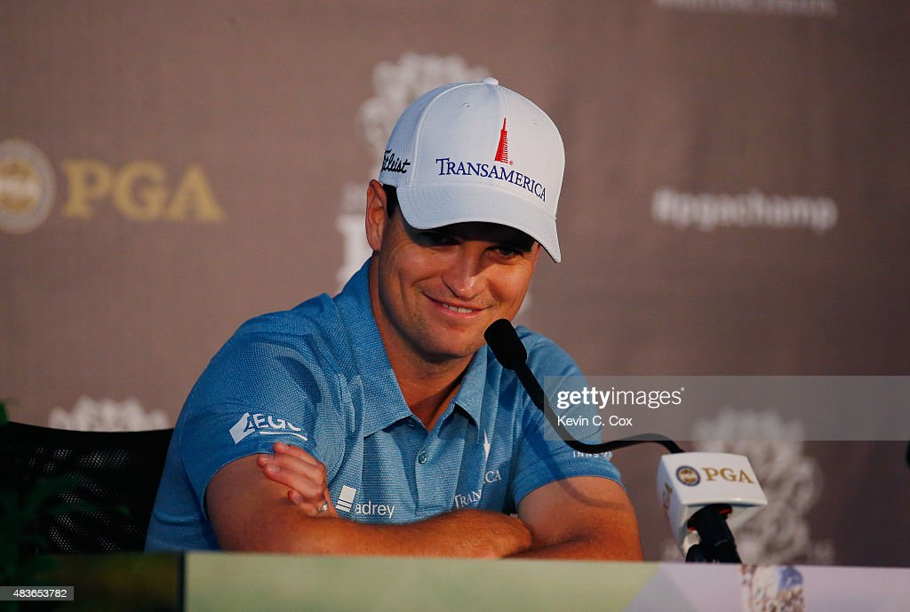 Zach Johnson of the United States speaks to the media during a press conference in a practice round prior to the 2015 PGA Championship at Whistling Straits on August 11, 2015 in Sheboygan, Wisconsin.