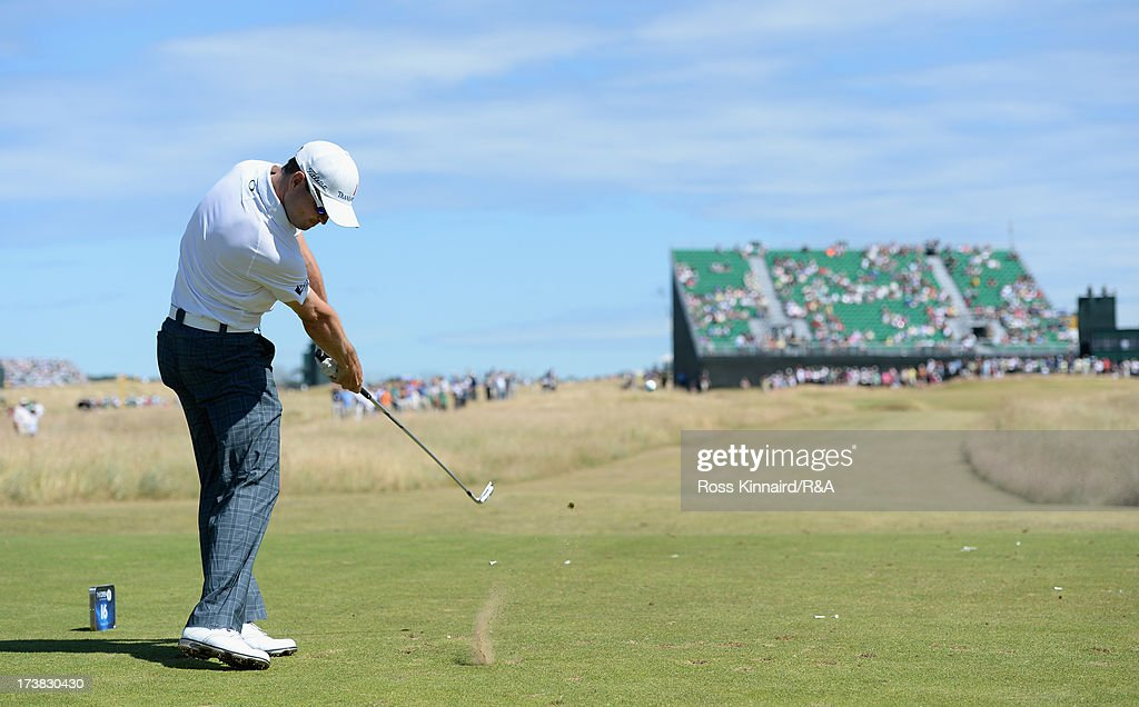 <a gi-track='captionPersonalityLinkClicked' href=/galleries/search?phrase=Zach+Johnson+-+Golfeur&family=editorial&specificpeople=217976 ng-click='$event.stopPropagation()'>Zach Johnson</a> of the United States tees off on the 16th hole during the first round of the 142nd Open Championship at Muirfield on July 18, 2013 in Gullane, Scotland.