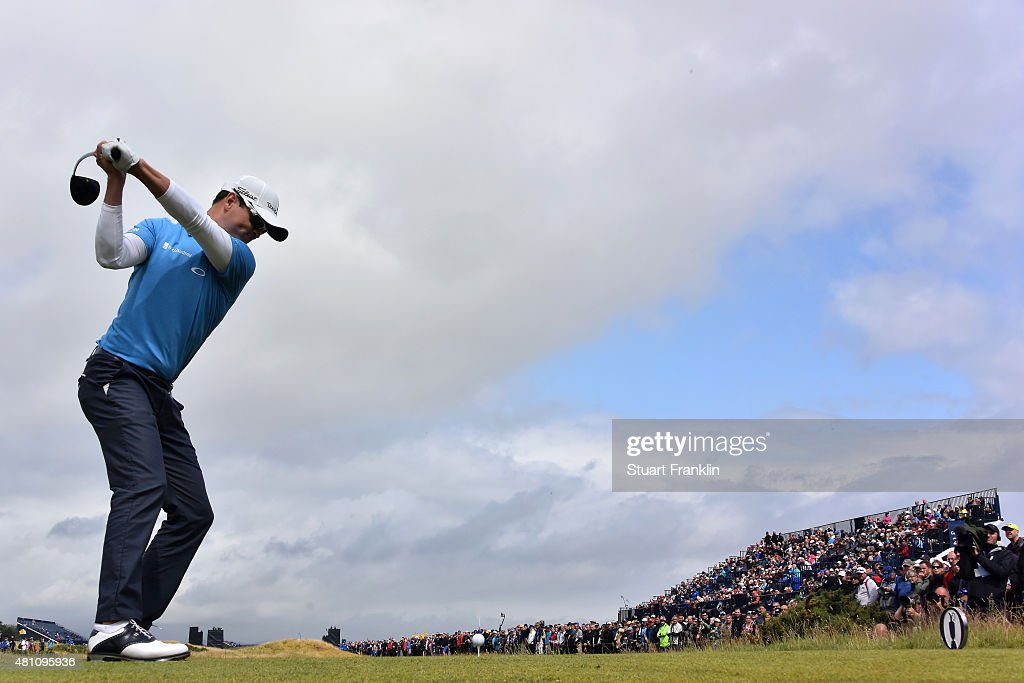 Zach Johnson of the United States tees off on the 3rd hole during the second round of the 144th Open Championship at The Old Course on July 17 2015...