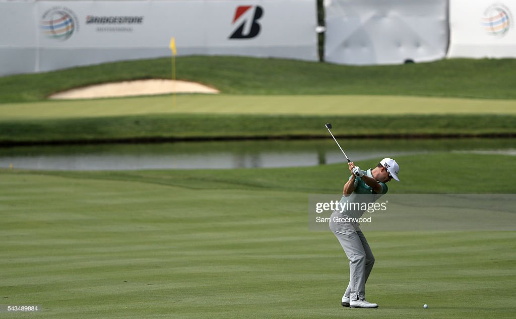 <a gi-track='captionPersonalityLinkClicked' href=/galleries/search?phrase=Zach+Johnson+-+Golfer&family=editorial&specificpeople=217976 ng-click='$event.stopPropagation()'>Zach Johnson</a> plays a shot during a practice round prior to the World Golf Championships-Bridgestone Invitational at Firestone Country Club South Course on June 28, 2016 in Akron, Ohio.