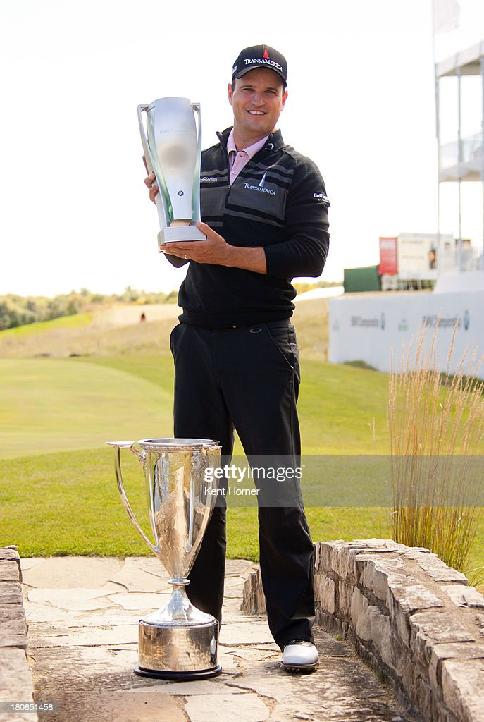 <a gi-track='captionPersonalityLinkClicked' href=/galleries/search?phrase=Zach+Johnson+-+Golfer&family=editorial&specificpeople=217976 ng-click='$event.stopPropagation()'>Zach Johnson</a> poses with the BMW Trophy and J.K. Wadley Trophy after his win of the 2013 BMW Championship at Conway Farms Golf Club on September 16, 2013 in Lake Forest, Illinois.