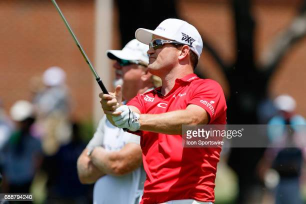 Zach Johnson watches his approach shot to during the second round of the Dean Deluca Invitational on May 26 2017 at Colonial Country Club in Fort...