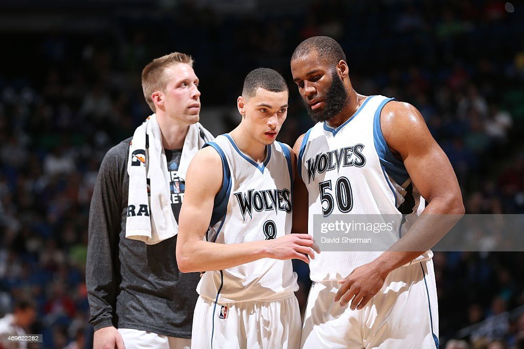 Zach LaVine and Arinze Onuaku of the Minnesota Timberwolves during the game against the New Orleans Pelicans on April 13 2015 at Target Center in...
