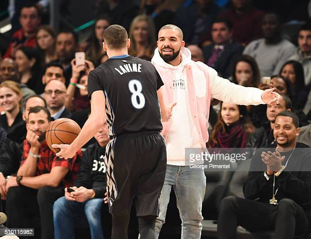 Zach LaVine and Drake attend the 2016 NBA AllStar Saturday Night at Air Canada Centre on February 13 2016 in Toronto Canada