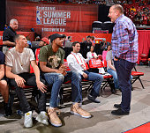 Zach LaVine KarlAnthony Towns and head coach Tom Thibodeau of the Minnesota Timberwolves attend the game between the Minnesota Timberwolves and the...
