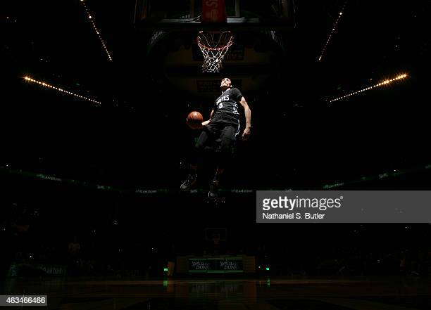 Zach LaVine of the Minnesota Timberwolves dunks during the Sprite Slam Dunk Contest on State Farm AllStar Saturday Night as part of the 2015 NBA...
