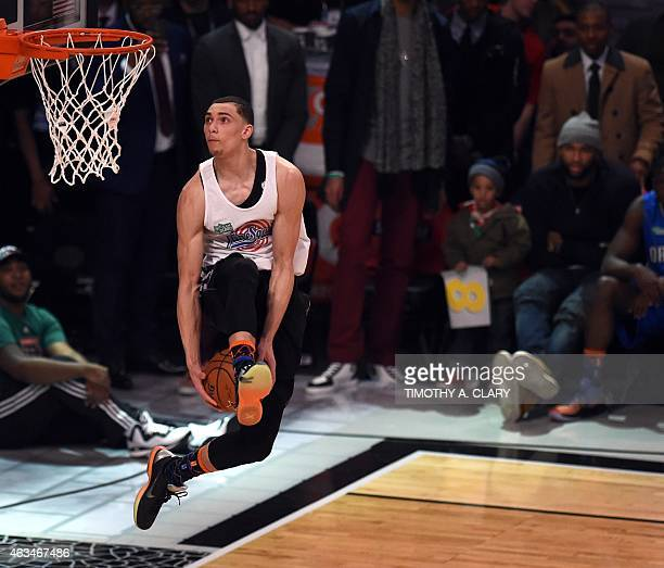 Zach LaVine of the Minnesota Timberwolves dunks on his way to winning the Sprite Slam Dunk Contest during the State Farm AllStar Saturday Night at...