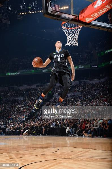 Zach LaVine of the Minnesota Timberwolves dunks the ball during the Sprite Slam Dunk Contest on State Farm AllStar Saturday Night as part of the 2015...