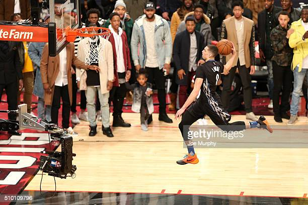 Zach LaVine of the Minnesota Timberwolves dunks the ball during the Verizon Slam Dunk Contest as part of NBA AllStar 2016 on February 13 2016 at Air...