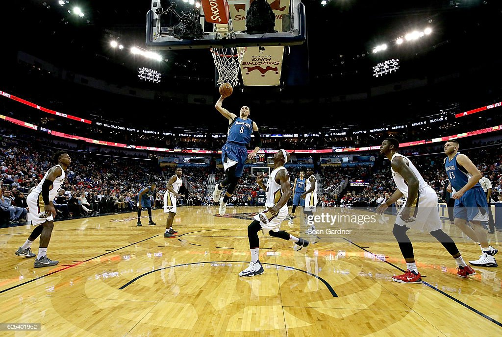 Zach LaVine #8 of the Minnesota Timberwolves dunks the ball during the first half of a game against the New Orleans Pelicans at the Smoothie King Center on November 23, 2016 in New Orleans, Louisiana.