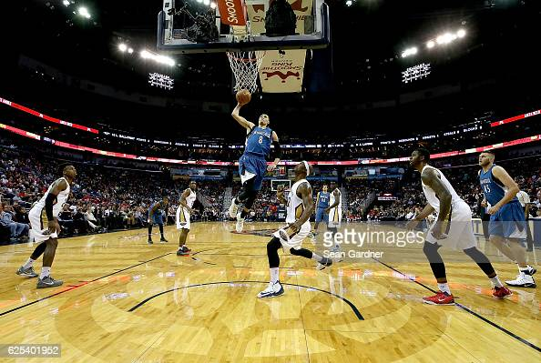 Zach LaVine of the Minnesota Timberwolves dunks the ball during the first half of a game against the New Orleans Pelicans at the Smoothie King Center...