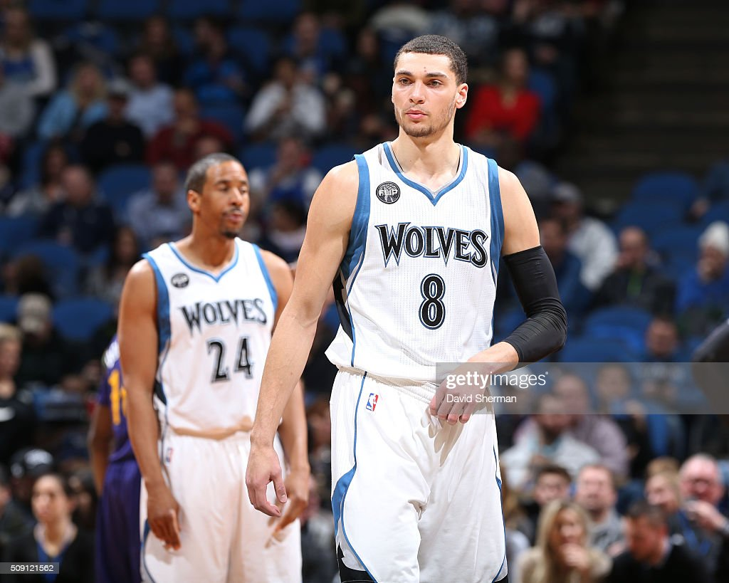 Zach LaVine #8 of the Minnesota Timberwolves during the game against the New Orleans Pelicans on February 8, 2016 at Target Center in Minneapolis, Minnesota.