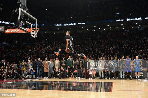 Zach LaVine of the Minnesota Timberwolves goes up for a dunk during the Verizon Slam Dunk Contest as part of 2016 NBA AllStar Weekend on February 13...