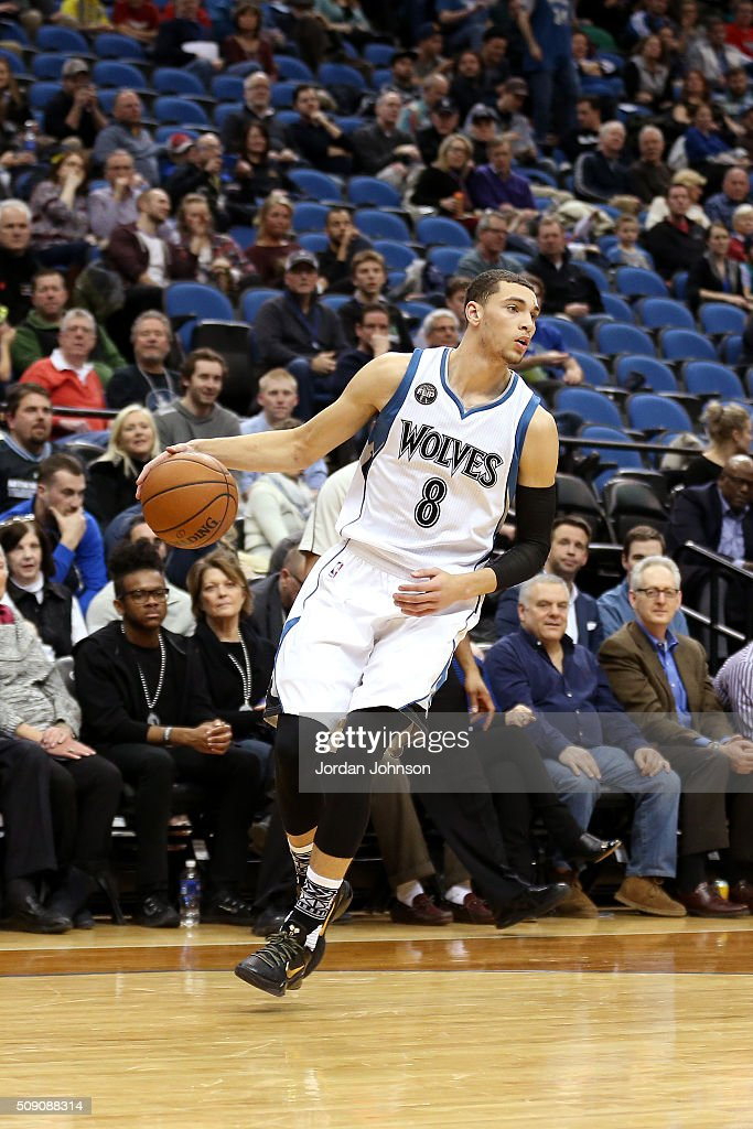 <a gi-track='captionPersonalityLinkClicked' href=/galleries/search?phrase=Zach+LaVine&family=editorial&specificpeople=11631430 ng-click='$event.stopPropagation()'>Zach LaVine</a> #8 of the Minnesota Timberwolves handles the ball during the game against the New Orleans Pelicans on February 8, 2016 at Target Center in Minneapolis, Minnesota.