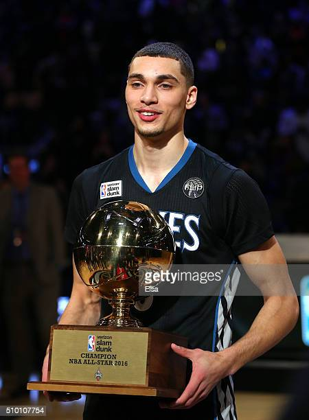 Zach LaVine of the Minnesota Timberwolves holds the trophy after winning the Verizon Slam Dunk Contest during NBA AllStar Weekend 2016 at Air Canada...
