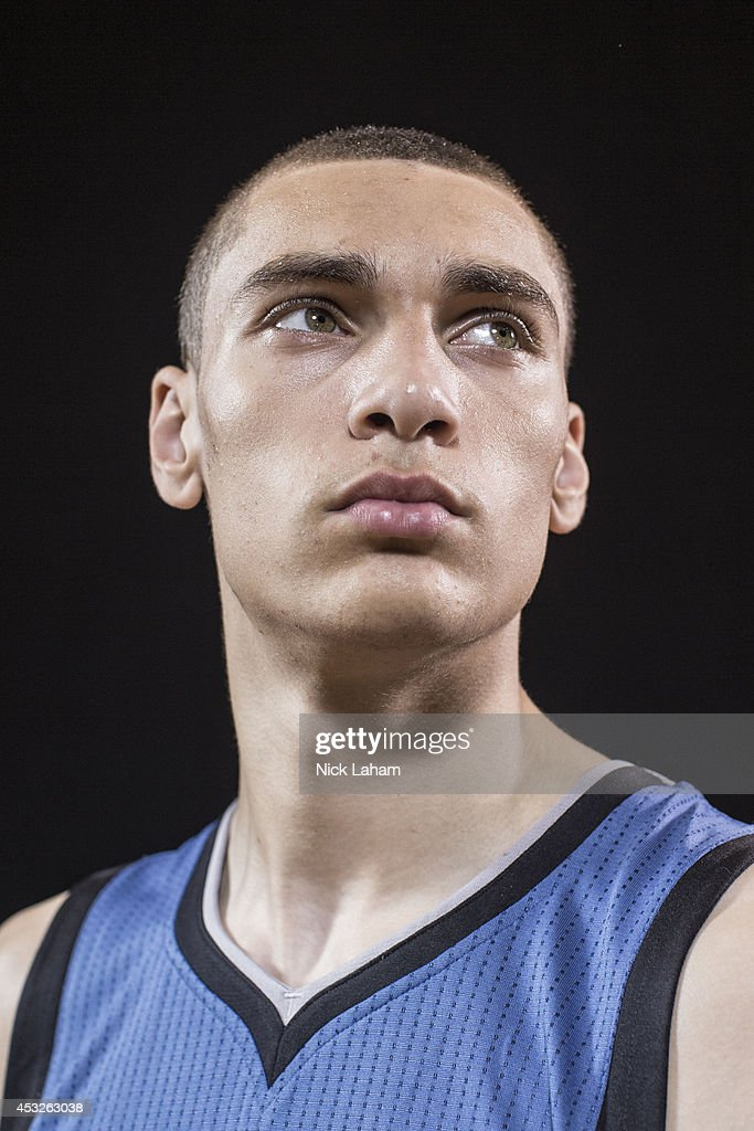 Zach LaVine #8 of the Minnesota Timberwolves poses for a portrait during the 2014 NBA rookie photo shoot at MSG Training Center on August 3, 2014 in Tarrytown, New York.