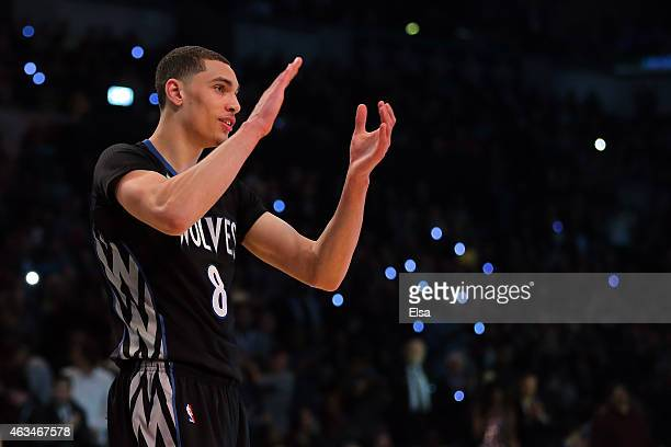 Zach LaVine of the Minnesota Timberwolves reacts during the Sprite Slam Dunk Contest as part of the 2015 NBA Allstar Weekend at Barclays Center on...