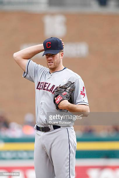 Zach McAllister of the Cleveland Indians adjusts his cap before pitching against the Detroit Tigers at Comerica Park on May 12 2013 in Detroit...