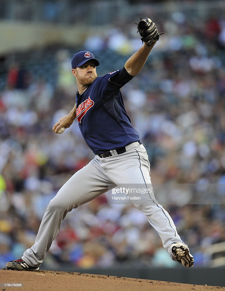 Zach McAllister #34 of the Cleveland Indians delivers a pitch against the Minnesota Twins during the first inning of the game on August 13, 2013 at Target Field in Minneapolis, Minnesota.