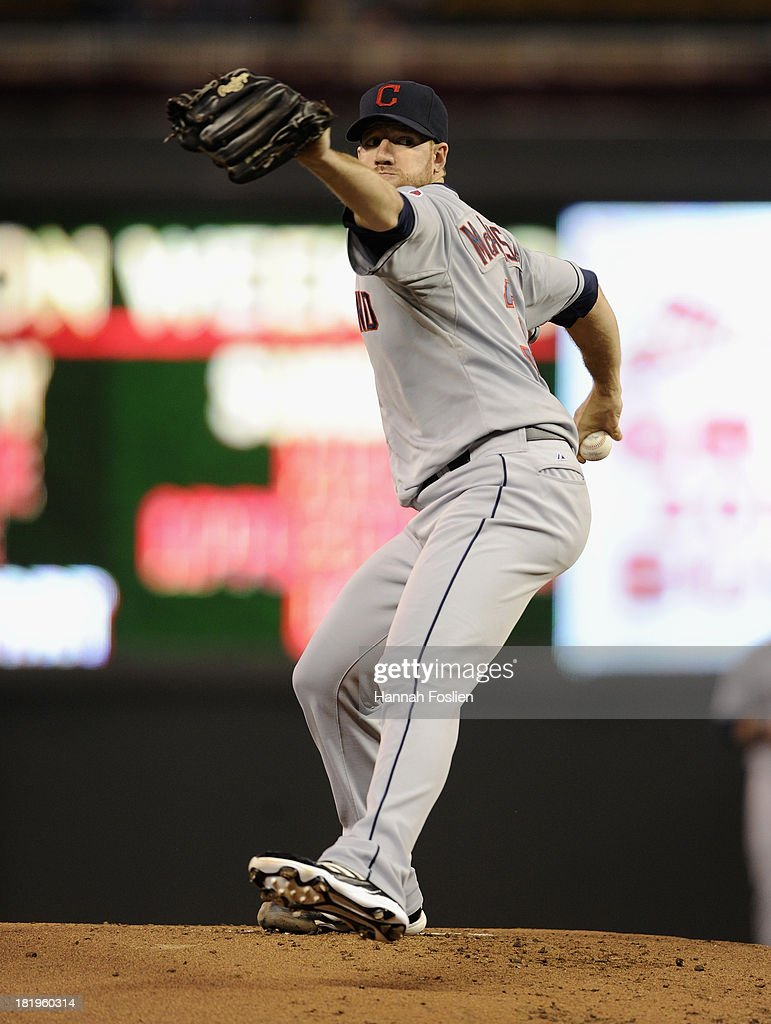 Zach McAllister #34 of the Cleveland Indians delivers a pitch against the Minnesota Twins during the first inning of the game on September 26, 2013 at Target Field in Minneapolis, Minnesota.