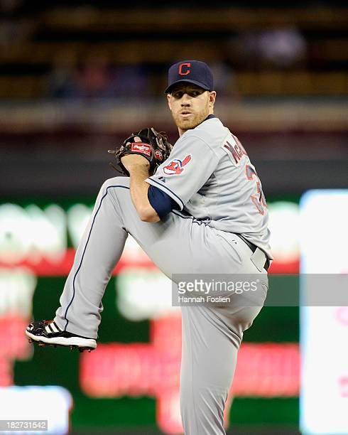 Zach McAllister of the Cleveland Indians delivers a pitch against the Minnesota Twins during the game on September 26 2013 at Target Field in...