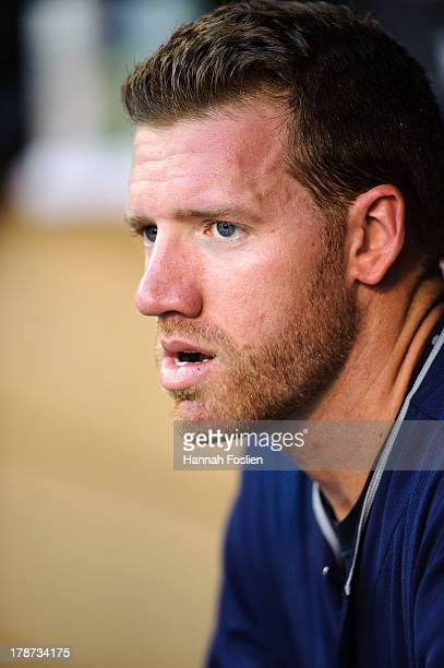 Zach McAllister of the Cleveland Indians looks on before the game against the Minnesota Twins on August 13 2013 at Target Field in Minneapolis...