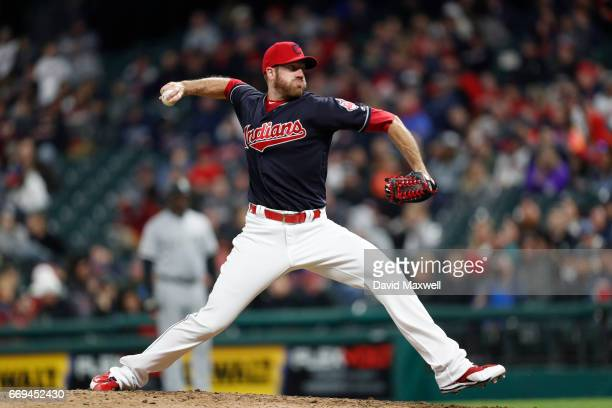 Zach McAllister of the Cleveland Indians pitches against the Chicago White Sox in the ninth inning at Progressive Field on April 12 2017 in Cleveland...