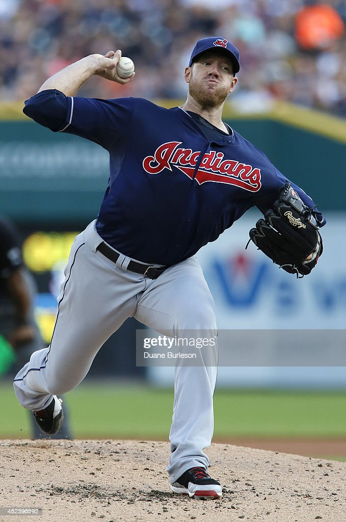 <a gi-track='captionPersonalityLinkClicked' href=/galleries/search?phrase=Zach+McAllister&family=editorial&specificpeople=6816291 ng-click='$event.stopPropagation()'>Zach McAllister</a> #34 of the Cleveland Indians pitches against the Detroit Tigers during the first inning of game two of a doubleheader at Comerica Park on July 19, 2014 in Detroit, Michigan.
