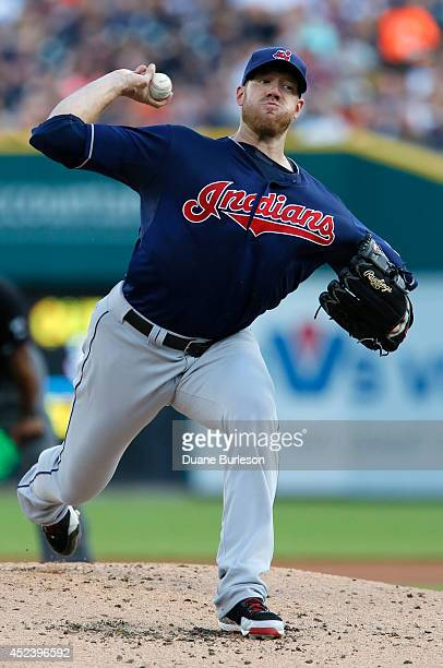 Zach McAllister of the Cleveland Indians pitches against the Detroit Tigers during the first inning of game two of a doubleheader at Comerica Park on...