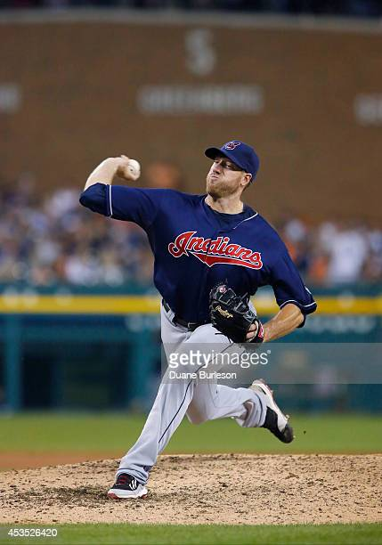 Zach McAllister of the Cleveland Indians pitches against the Detroit Tigers during game two of a doubleheader at Comerica Park on July 19 2014 in...