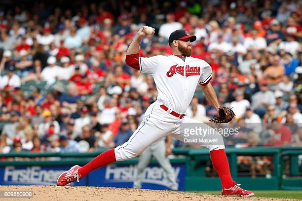 Zach McAllister of the Cleveland Indians pitches against the Detroit Tigers in the eighth inning at Progressive Field on September 18 2016 in...