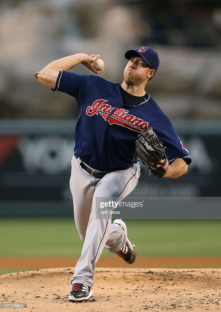 Zach McAllister #34 of the Cleveland Indians pitches against the Los Angeles Angels of Anaheim at Angel Stadium of Anaheim on August 19, 2013 in Anaheim, California.