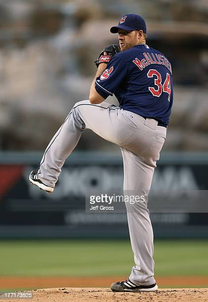 Zach McAllister of the Cleveland Indians pitches against the Los Angeles Angels of Anaheim at Angel Stadium of Anaheim on August 19 2013 in Anaheim...