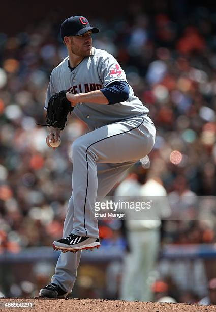 Zach McAllister of the Cleveland Indians pitches against the San Francisco Giants during the game at ATT Park on Saturday April 26 2014 in San...