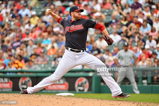 Zach McAllister of the Cleveland Indians pitches against the Seattle Mariners at Progressive Field on June 11 2015 in Cleveland Ohio