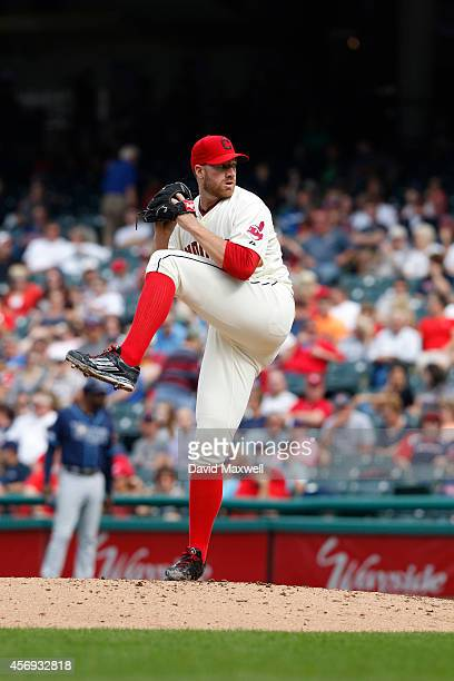 Zach McAllister of the Cleveland Indians pitches against the Tampa Bay Rays during the eighth inning of their game on September 28 2014 at...