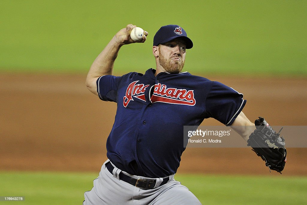 Zach McAllister #34 of the Cleveland Indians pitches during a MLB game against the Miami Marlins at Marlins Park on August 3, 2013 in Miami, Florida.