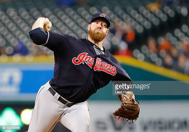 Zach McAllister of the Cleveland Indians pitches during the first inning of the game against the Detroit Tigers on September 28 2016 at Comerica Park...
