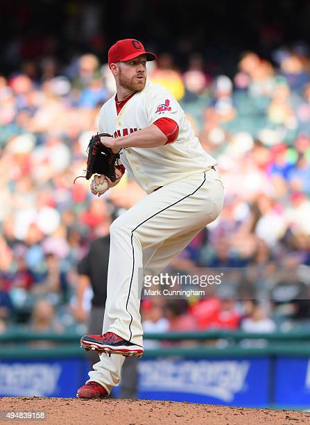 Zach McAllister of the Cleveland Indians pitches during the game against the Boston Red Sox at Progressive Field on October 4 2015 in Cleveland Ohio...