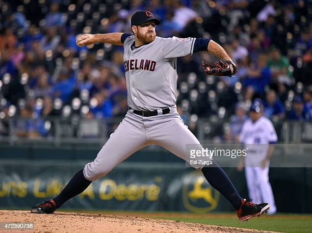 Zach McAllister of the Cleveland Indians pitches in the ninth inning against the Kansas City Royals at Kauffman Stadium on May 6 2015 in Kansas City...