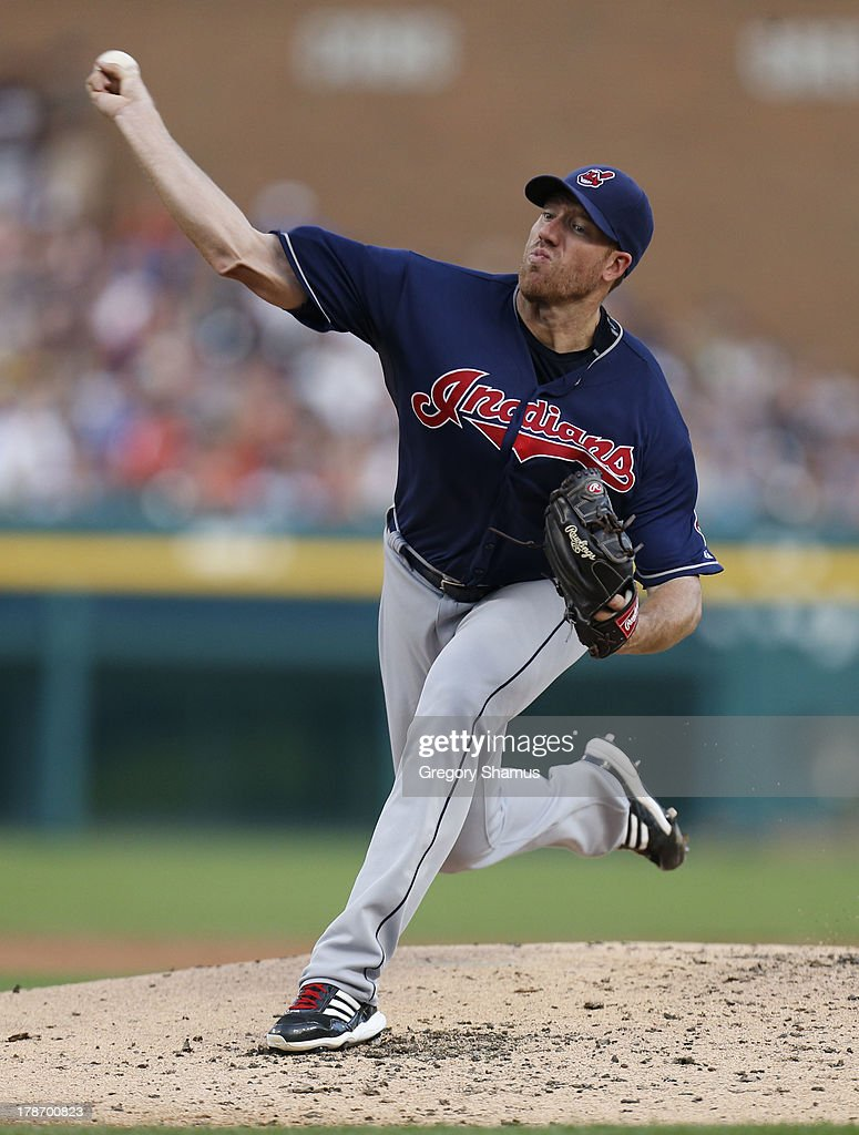 <a gi-track='captionPersonalityLinkClicked' href=/galleries/search?phrase=Zach+McAllister&family=editorial&specificpeople=6816291 ng-click='$event.stopPropagation()'>Zach McAllister</a> #34 of the Cleveland Indians throws a second inning pitch while playing the Detroit Tigers on August 30, 2013 at Comerca Park in Detroit, Michigan.
