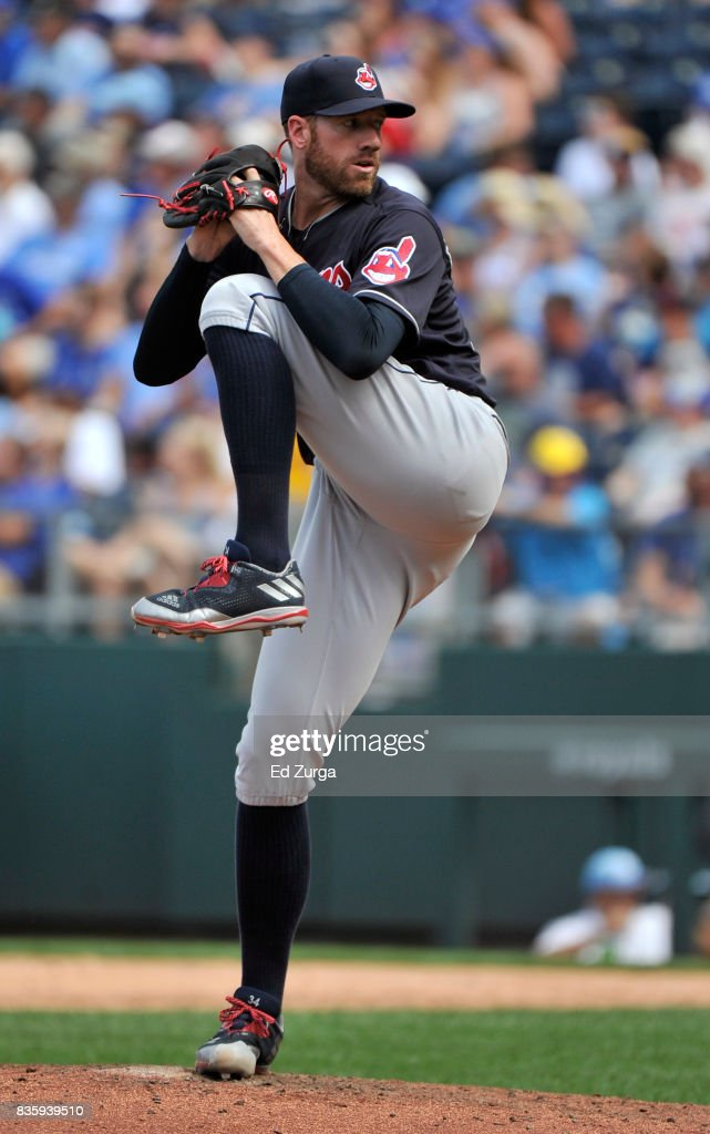 Zach McAllister #34 of the Cleveland Indians throws in the fifth inning against the Kansas City Royals at Kauffman Stadium on August 20, 2017 in Kansas City, Missouri.