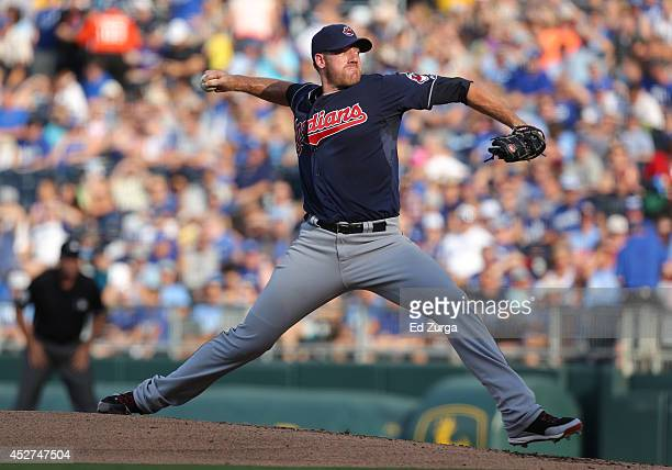 Zach McAllister of the Cleveland Indians throws in the first inning against the Kansas City Royals at Kauffman Stadium on July 26 2014 in Kansas City...