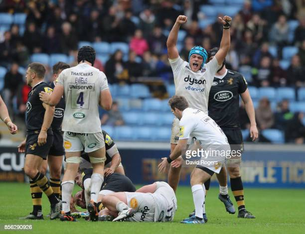 Zach Mercer of Bath celebrates their victory during the Aviva Premiership match between Wasps and Bath Rugby at The Ricoh Arena on October 1 2017 in...