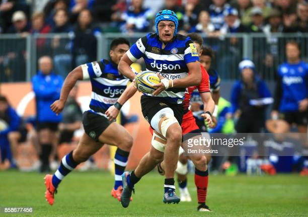 Zach Mercer of Bath makes a break during the Aviva Premiership match between Bath Rugby and Worcester Warriors at Recreation Ground on October 7 2017...