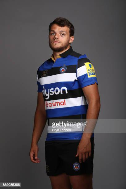 Zach Mercer of Bath poses during a photocall on August 22 2017 in Bath England