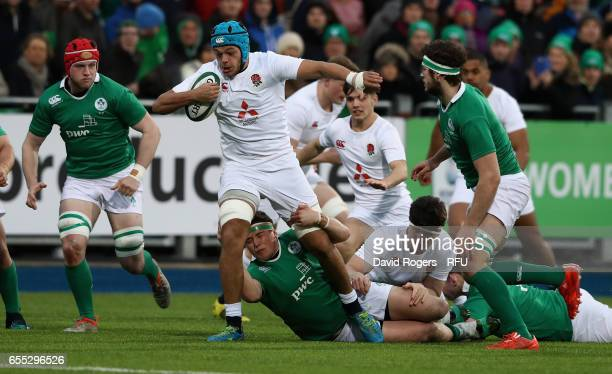 Zach Mercer of England is tackled during the under 20 Six Nations Rugby Championship match between Ireland and England at Donnybrook Stadium on March...