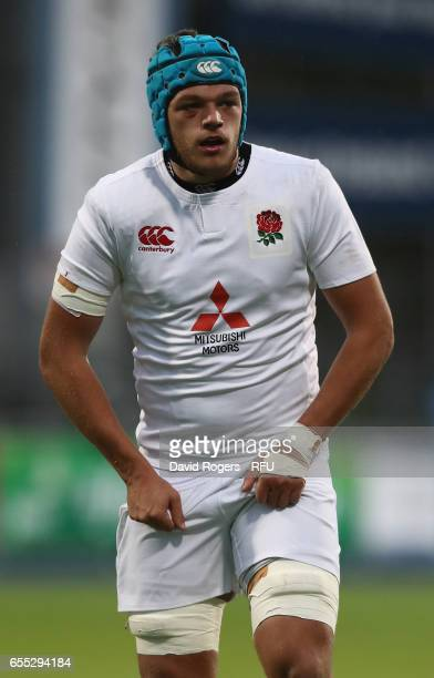 Zach Mercer of England looks on during the under 20 Six Nations Rugby Championship match between Ireland and England at Donnybrook Stadium on March...