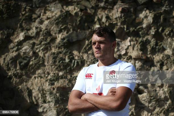 Zach Mercer of England poses during the World Rugby U20 Championship Final captain's photocall on June 16 2017 in Tbilisi Georgia